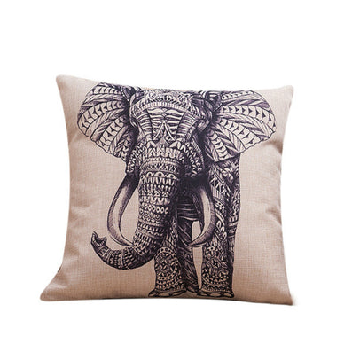 Square 45X45CM European Vintage Colorful Elephant Printed Pillow Case Animal Cushion Cotton linen Cover Throw pillow case Y2-Dollar Bargains Online Shopping Australia