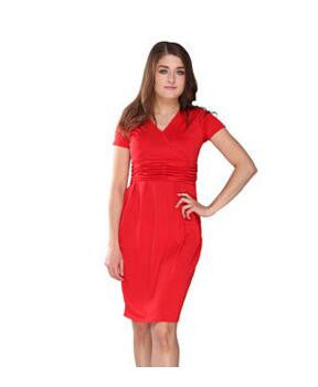 Red / L as the size chartComfortable Maternity Dress V-neck Pregnant Dress S M L XL Women's Vestidos Plus Size Nursing Clothes Black Red Blue