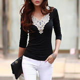 women's fashion Hollow lace collar Slim casual Long Sleeve shirt sexy V-neck embroidered tops-Dollar Bargains Online Shopping Australia