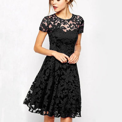 Women Floral Lace Dresses Short Sleeve Party Casual Color Blue Red Black Mini Dress-Dollar Bargains Online Shopping Australia