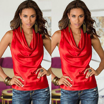 Red / SNew Sexy Fashion Women Lady Blouse Clothing Summer Sleeveless V-neck Tops Tee Sleeveless Casual Blouse Loose