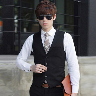 Fashion Gilet Homme Business Suit Vests Slim Fit Men Waistcoat Single Button Men Dress Vest Plus Size 3XL-Dollar Bargains Online Shopping Australia