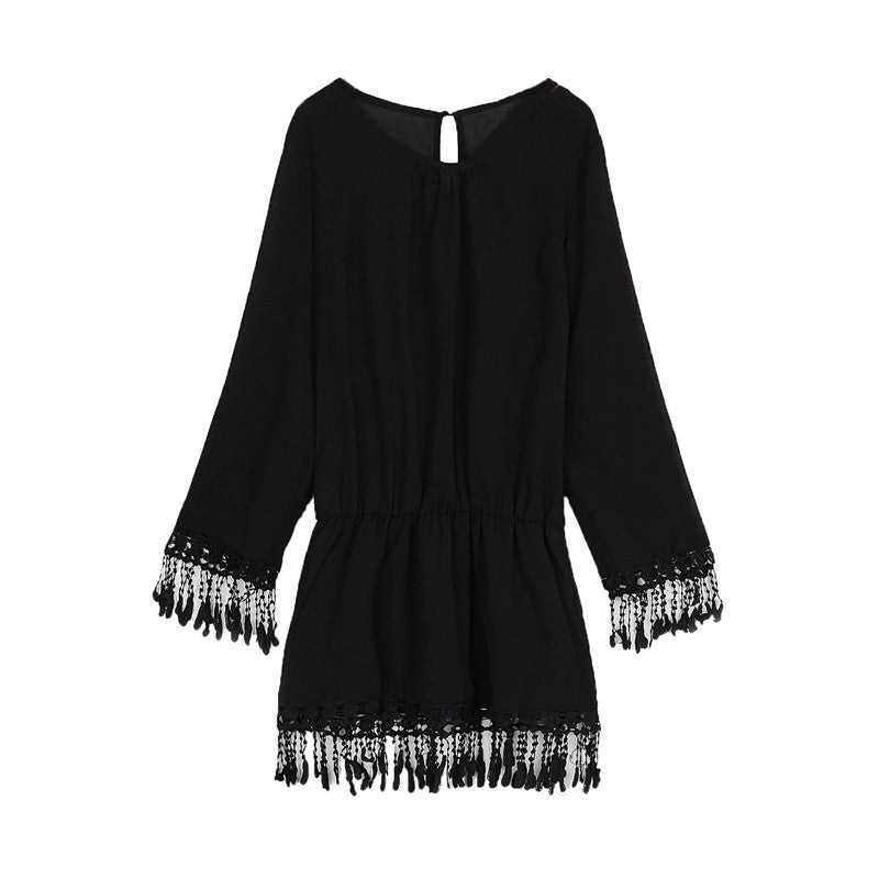 Black / SSummer Style Sexy Women Dress O Neck Lace Tassel Chiffon Mini Dresses Casual Loose Short Party Vestidos Bohemian Beach Robe