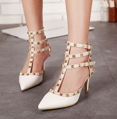 5d2b3e2af Women summer Pumps Ladies Sexy Pointed Toe Gladiator High Heels Fashion  Buckle Studded Stiletto Sandals Shoes