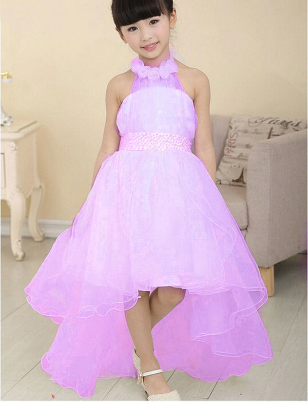9283ddf8f7 New Summer Baby Girls Party Dress Evening Wear Long Tail Girls Clothes  Elegant Flower Girl Dress
