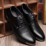 Fashion High Quality Genuine Pointed Leather Men Oxfords Lace-Up Business Men Shoes Men Dress Shoes Leather Shoes BRM-423-Dollar Bargains Online Shopping Australia