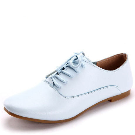 d8c5f9e741936 New Real leather Classic Women Oxfords Shoes Fashion Girls Casual Flats  Lace Up Loafers Pointed Toe