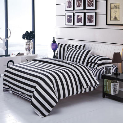 Bedding Set Twin/Full/Queen Size Duvet Cover Set Classic Black And White Bed