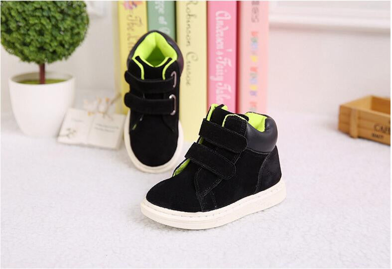 black cotton / 7Children Martin Boots Winter Coral Fleece Kids Boots For Girl Shoes With Rubber Soles Of Boys Boots Children Shoes Size