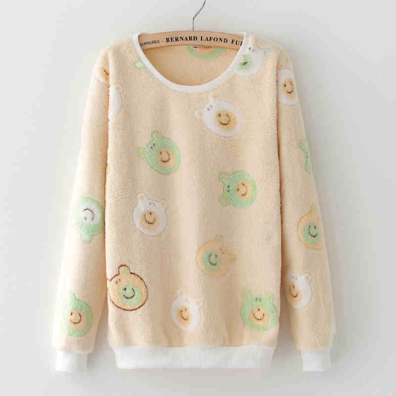 tbaibiy10 / LCute Teddy Bear Harajuku Christmas Sweater Womens Sweaters Fashion Winter Lined Wool Sweater Cashmere Knitted Sweater Wol