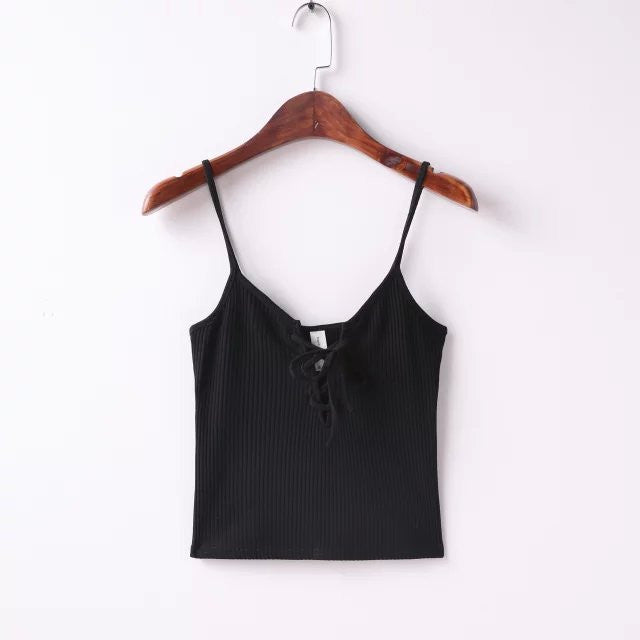 Black / MWomen Harajuku front cross brandage strappy bustier crop top tank bralette brandy melville Camis s m