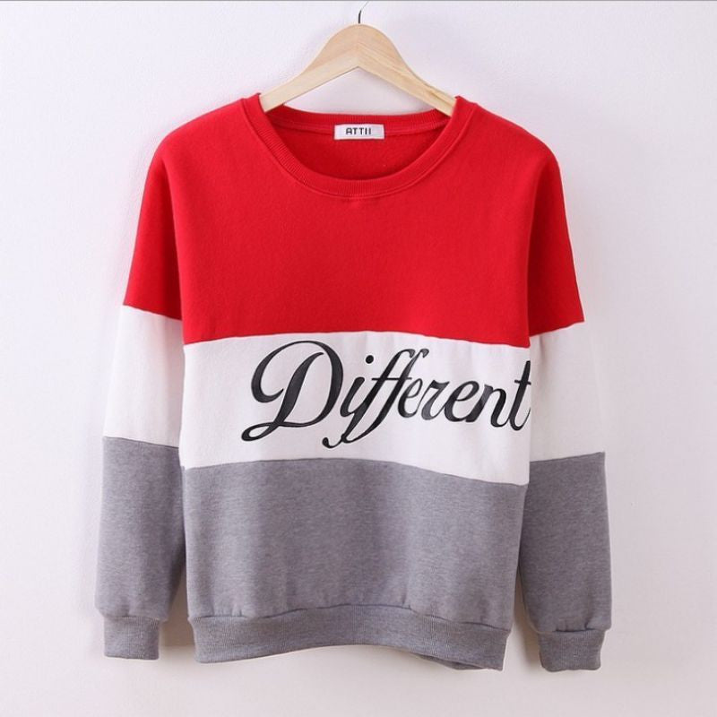 Red / One SizeNew Letter Printed Women Pullover Tops Sweat Shirt Blouse Sweater Thick Tracksuits Sudaderas Y8