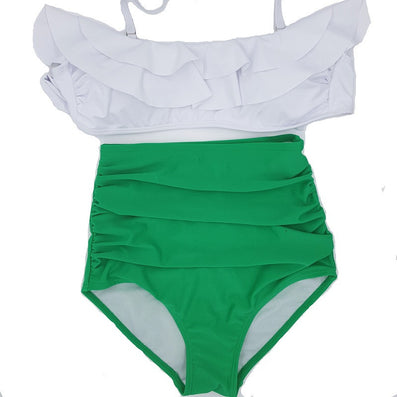 Pin Up Swimwear Bikini Vintage Retro Swimsuit High Waist Bathing Suit Green ruffle Swimsuit-Dollar Bargains Online Shopping Australia