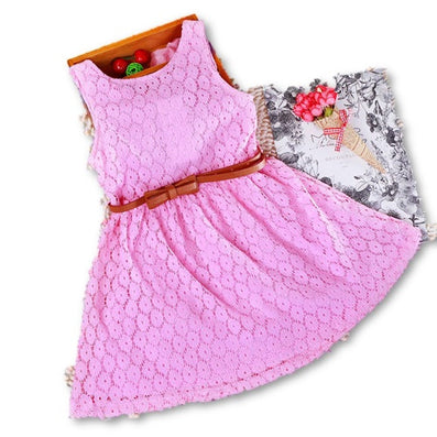 2-8 Years New Gift Summer Lace Vest Girls Dress Baby Girl Cotton Dress Chlidren Clothes Kids Party Clothing For Girls Free Belt-Dollar Bargains Online Shopping Australia