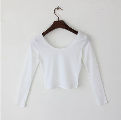 Sexy Crop Top Ladies long Sleeve t shirt women tops Basic Stretch T-shirts Bare-midriff solid color-Dollar Bargains Online Shopping Australia