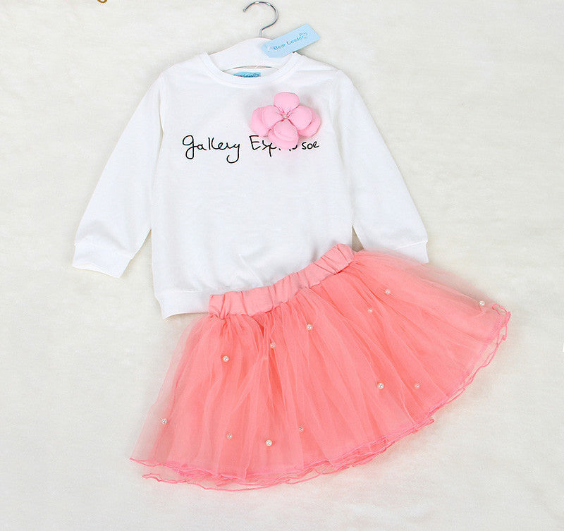 41345c6c9d14 Lovely Girls White Tee Shirt and Pink Skirt With Rhinestone Clothes Set for Kids  Girl Autmn