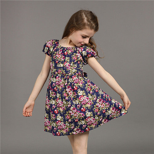 a5ccc30b37c3 Summer New European Style Girl Dress Baby Girls Print Flowers Floral  Dresses Cotton Vestido Infantil Kids