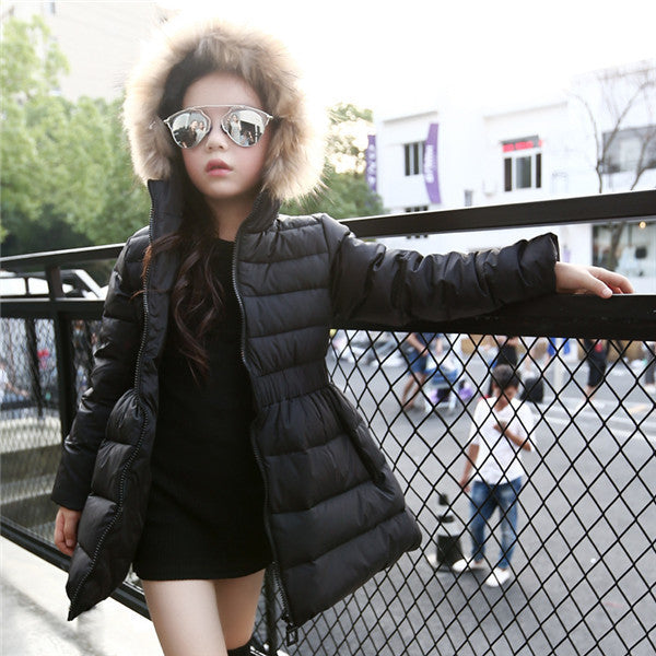 Balck / 6Girls Jackets & Coats New Arrivals Fashion Fur Hooded Thick Warm Parka Down Kids Clothes Cotton Children's Outwear Clothing