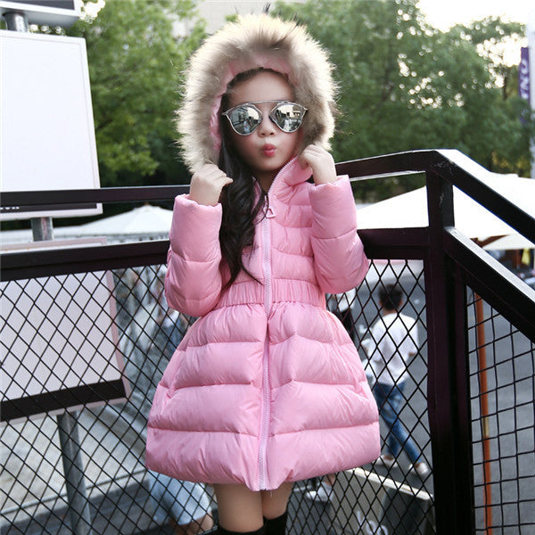Pink / 9Girls Jackets & Coats New Arrivals Fashion Fur Hooded Thick Warm Parka Down Kids Clothes Cotton Children's Outwear Clothing