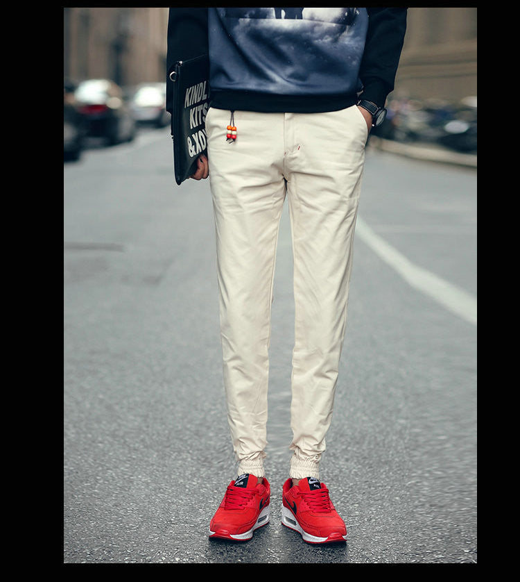 Beige / 29Spring Jogger Pants Men Solid Fashion Ankle-tied Slim Fit Youths Mens Joggers Trousers Ankle-Length