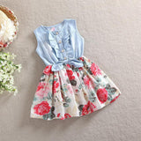 Belababy Baby Girl Dress Summer Children Sleeveless Christmas Girls Denim Floral Dresses Kids Princess Bowknot Flower Dress-Dollar Bargains Online Shopping Australia