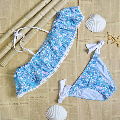 Summer stylesTriangle strapless lace crop top sexy bikini set women plus size off shoulder swimsuit swimwear bathing suit-Dollar Bargains Online Shopping Australia