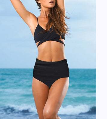 High Waist Swimsuit Women Pushup bikini with a high waisted Beach woman Black Swimsuits Swimwear Sexy Bathing Suit HW1612-Dollar Bargains Online Shopping Australia
