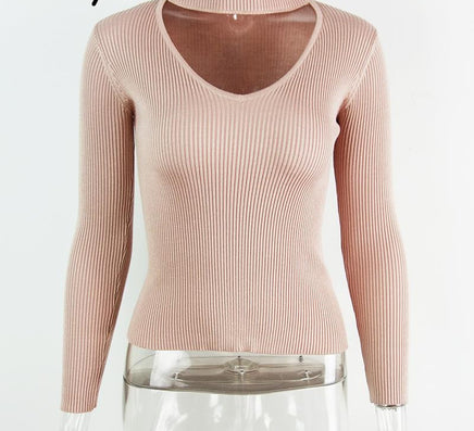 db605b76a8a9f BerryGo Autumn winter black halter knitted sweater White sexy pullover  women tops Slim v neck long sleeve chic jumper pull femme