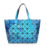 Laser Women Dazzle Color Plaid Tote Casual Bags Female Fashion Fold Over Handbags Lady Sequins Mirror Saser Bag Bao Bao-Dollar Bargains Online Shopping Australia