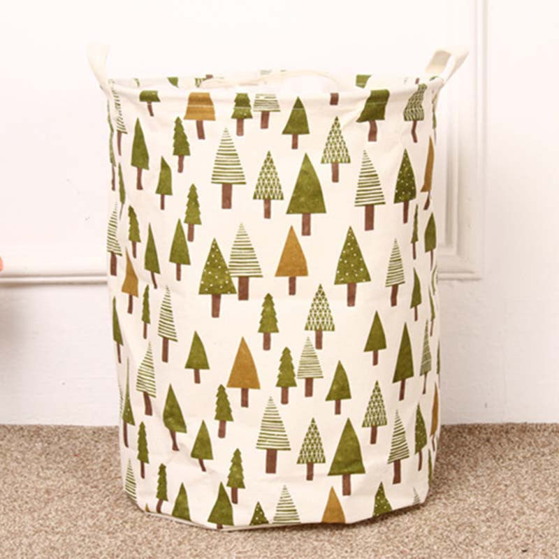 TREEUnique Foldable Cotton Linen Washing Clothes Laundry Basket Bag Hamper Storage