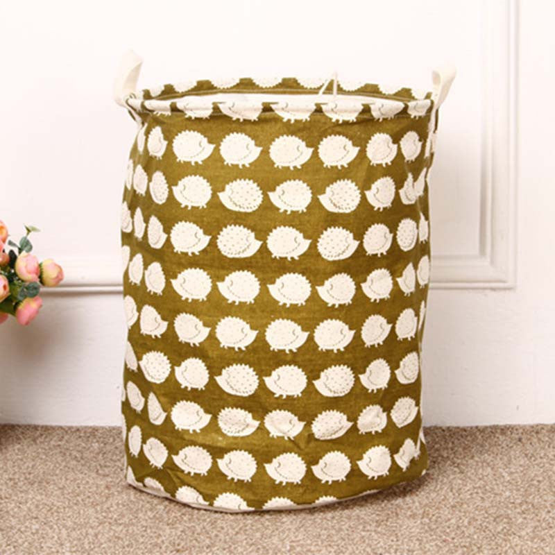 HEDGEHOGUnique Foldable Cotton Linen Washing Clothes Laundry Basket Bag Hamper Storage