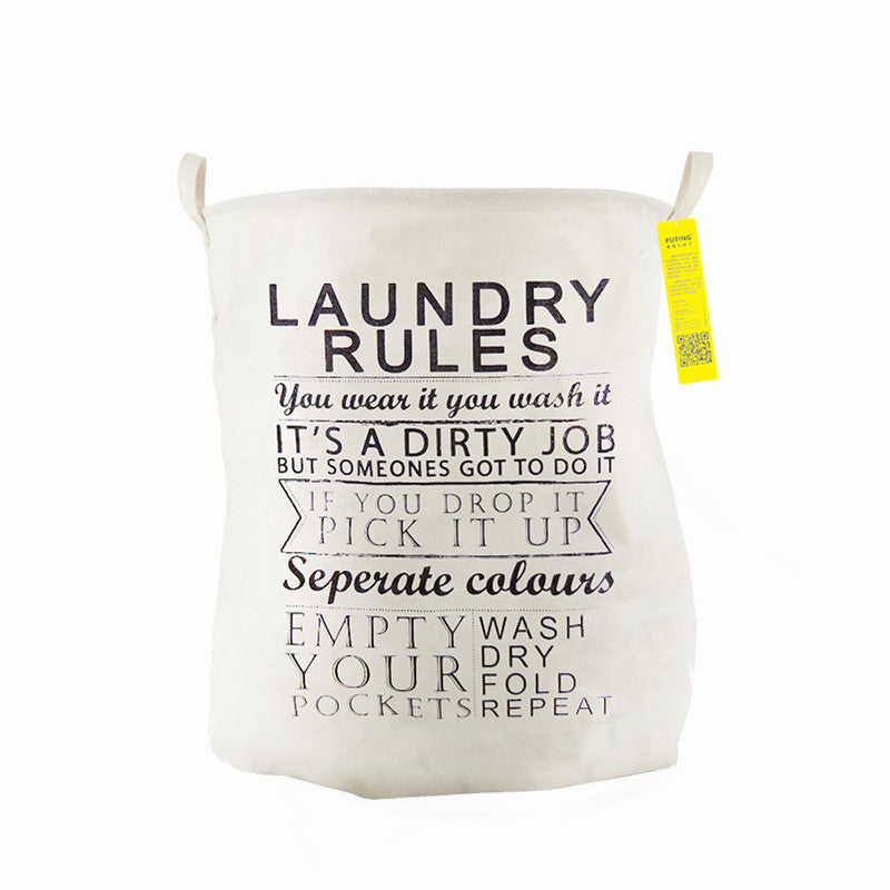 LAUNDRY RULESUnique Foldable Cotton Linen Washing Clothes Laundry Basket Bag Hamper Storage