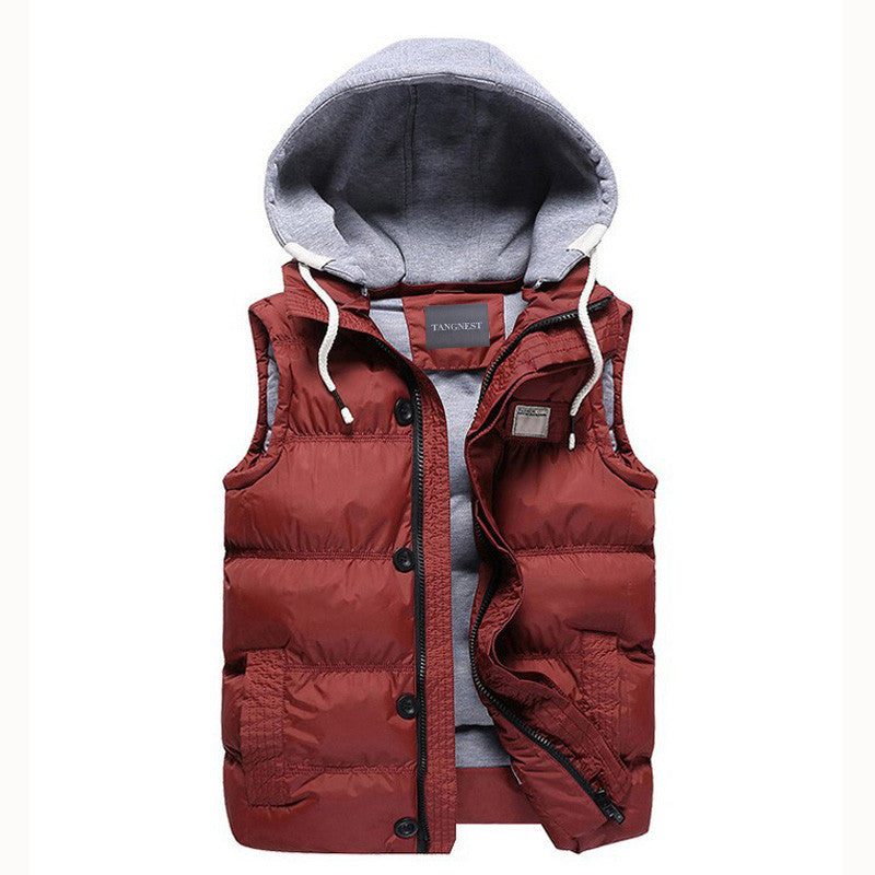 Red / MMen's Thicken Slim Casual Vests Hat Detachable Vest For Winter Youth Trend Big Plus Size M-5XL Five Colors Colete MWB086