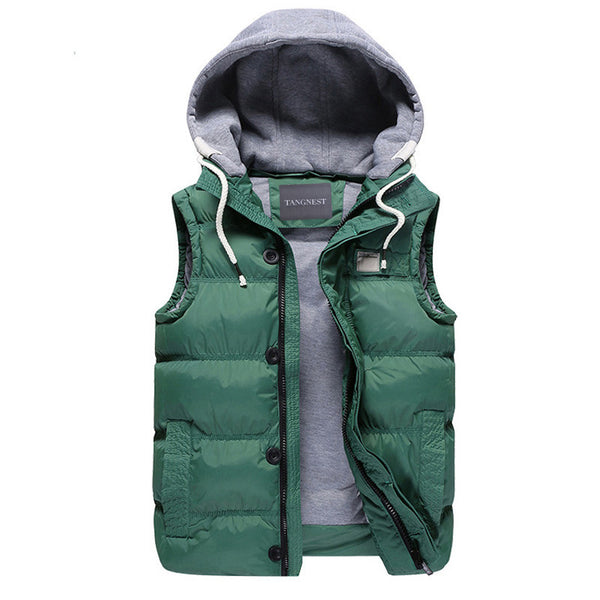 f73ae5689b27 Men's Thicken Slim Casual Vests Hat Detachable Vest For Winter Youth Trend Big  Plus Size M