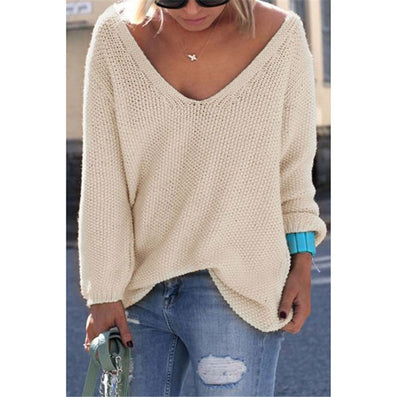 Casual new slim autumn sweater V neck loose solid 6 colors women's sweaters and pullovers knitwear jumper ladies pullover-Dollar Bargains Online Shopping Australia