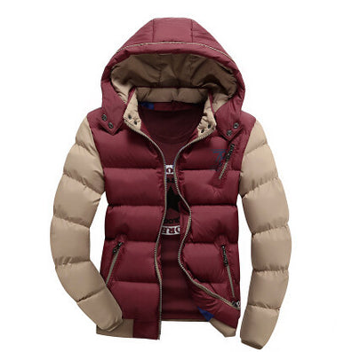 Thick Fashion Patchwork Zipper White Black Red Khaki Yellow Winter Autumn Winter Jacket Men Parkas-Dollar Bargains Online Shopping Australia