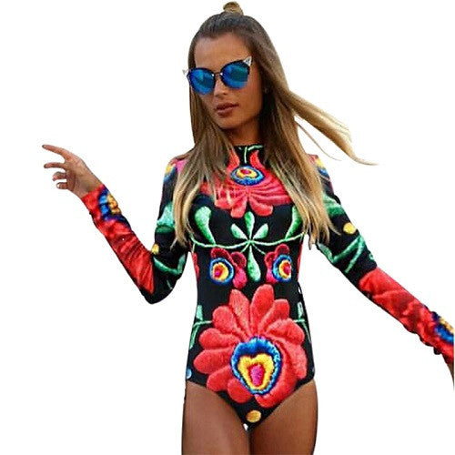 7446e223611 Autumn Women Bodysuits Print Flower Sexy Club Jumpsuits Long Sleeve Bodycon  Sheath Bodysuit Elastic Heyoungirl
