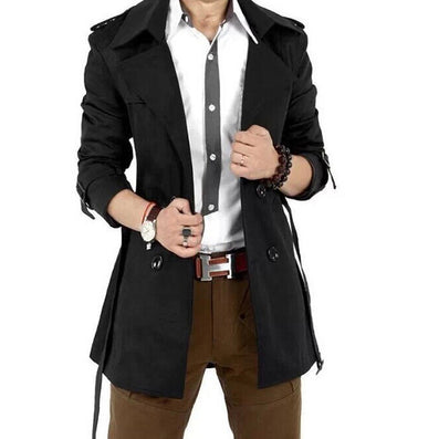 Trench Coat Men Classic Men's Double Breasted Trench Coat Masculino Mens Clothing Long Jackets & Coats British Style Overcoat-Dollar Bargains Online Shopping Australia