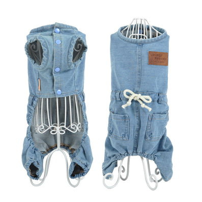 Pet Cat Dog classic Denim jeans Shirt Strap Jeans Coat Vest Jacket Jumpsuit Small Dog Clothes S M L XL-Dollar Bargains Online Shopping Australia