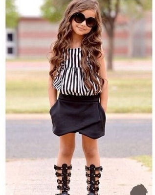 New Summer wear Girls Casual TOPS + Short Clothing Set Suit Girls Clothe Fashion wear Striped Cloth-Dollar Bargains Online Shopping Australia