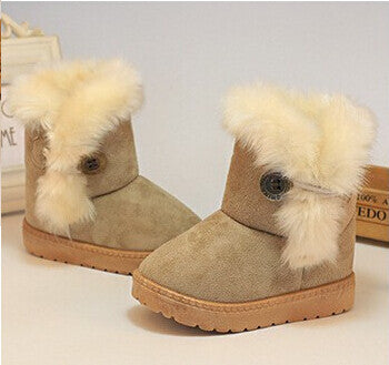 Winter Children Boots Thick Warm Shoes Cotton-Padded Suede Buckle Girls Boots Boys Snow Boots Kids Shoes EU 21-35-Dollar Bargains Online Shopping Australia