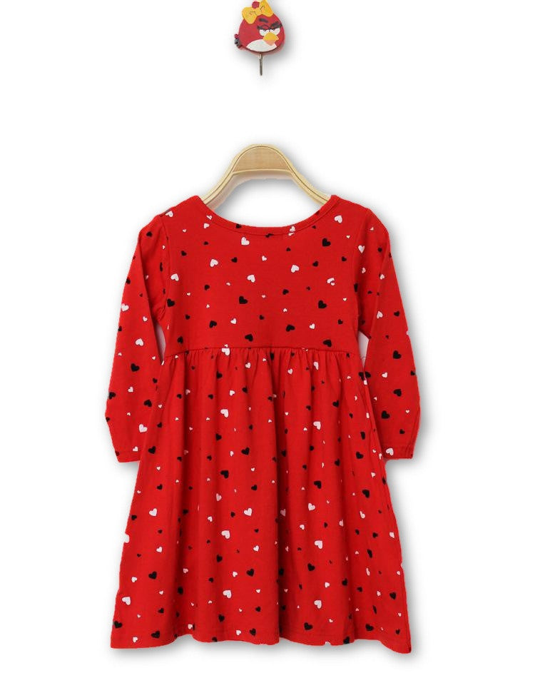 100 Cotton Baby Girls Dress Long Sleeve Red Heart Shape