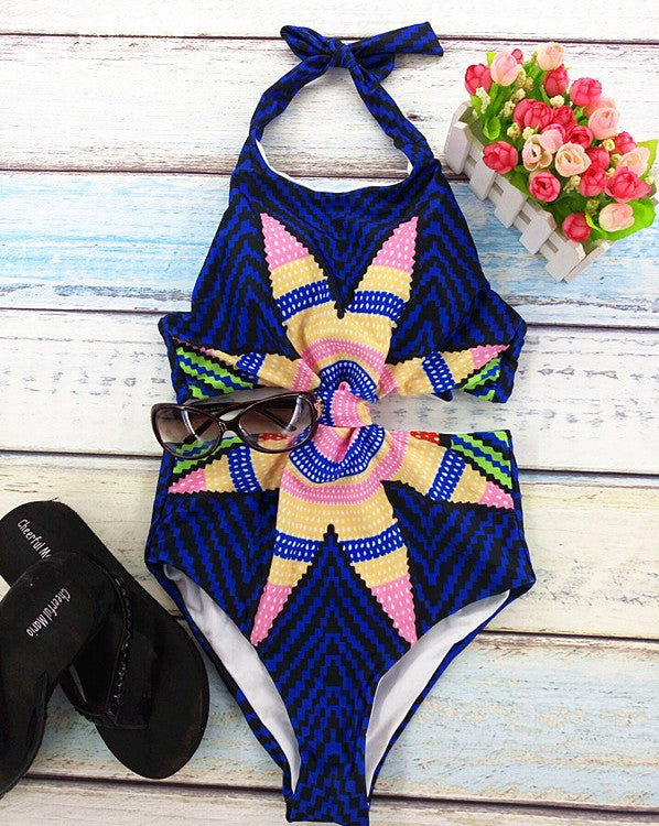 Blue / SNew One Piece Strappy biquini High Waist Women cut Bamboo bikiniFemale Bathing Suits Monokini S61A432R