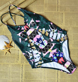 New One Piece Strappy biquini High Waist Women cut Bamboo bikiniFemale Bathing Suits Monokini S61A432R-Dollar Bargains Online Shopping Australia