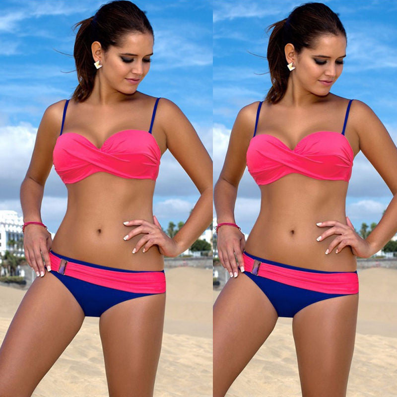 Blue / SNew Sexy Swimwear Women Bikini Set Bandage Push-Up Padded Swimsuit Bathing Beachwear Women's Swimwear Bikinis Tankini