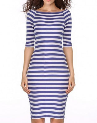 Summer Women's Fashion Bodycon Long Party Dresses Sexy Off The Shoulder Casual Striped Work OL One Piece Dress Blue-Dollar Bargains Online Shopping Australia