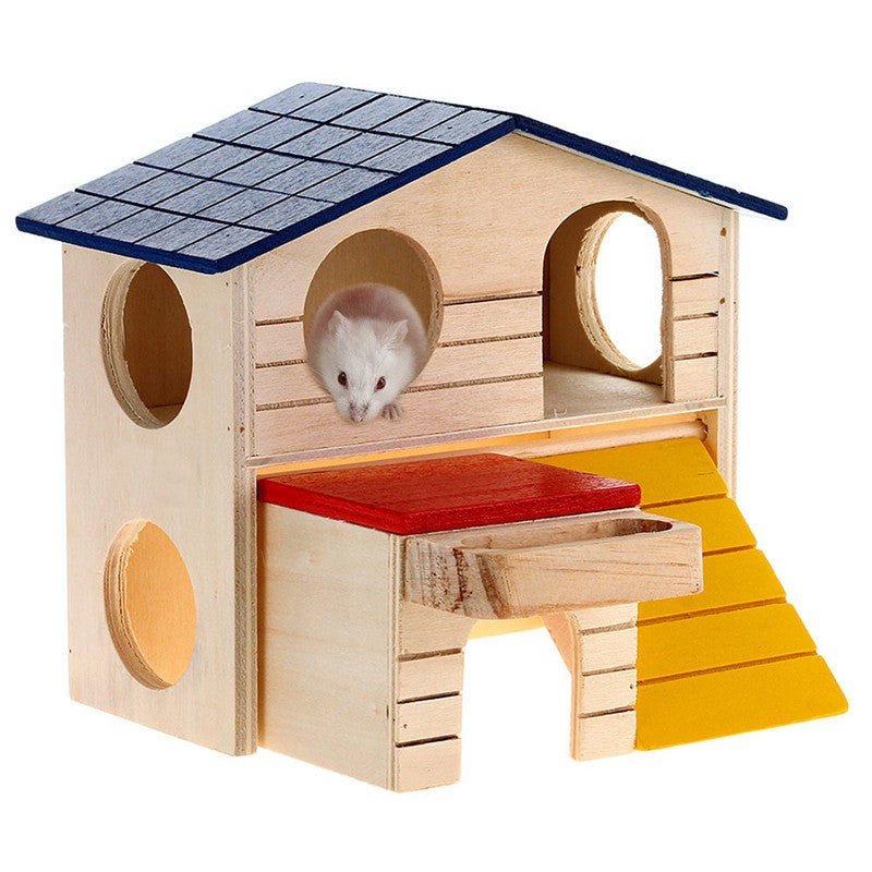 Magnificent Rat House Wooden Hamster Ladder Pet Small Animal Rabbit Mouse Hideout Luxury Home 2 Storey Platform Playhouse Nest Home Interior And Landscaping Ponolsignezvosmurscom