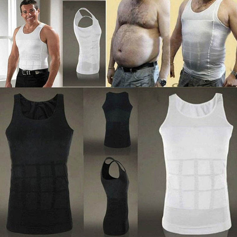 China / Black / LMen Slimming Body Shaper Tummy Shaper Vest Slimming Underwear Corset Waist Muscle Girdle Shirt Fat Burn Posture Corrector
