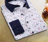 New Spring Men Casual Shirts Fashion Long Sleeve Brand Printed Button-Up Formal Business Polka Dot Floral Men Dress Shirt-Dollar Bargains Online Shopping Australia