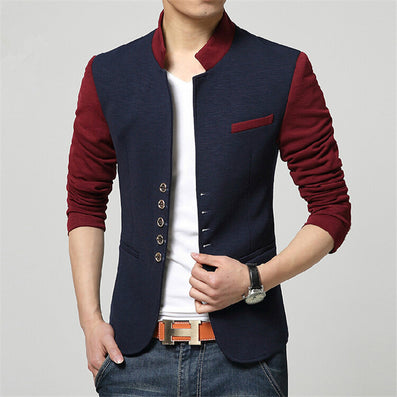 Blazer Men Collar Suit Mens Summer Blazer Casual Jacket Men Fashion Patchwork Brand Clothing Veste Homme Q50-Dollar Bargains Online Shopping Australia